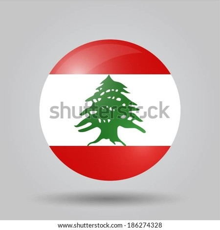 Circular flag with shadow and 3D effect, on grey background - Lebanon
