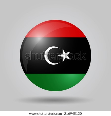 Circular flag with shadow and 3D effect, on grey background - Libya - stock vector