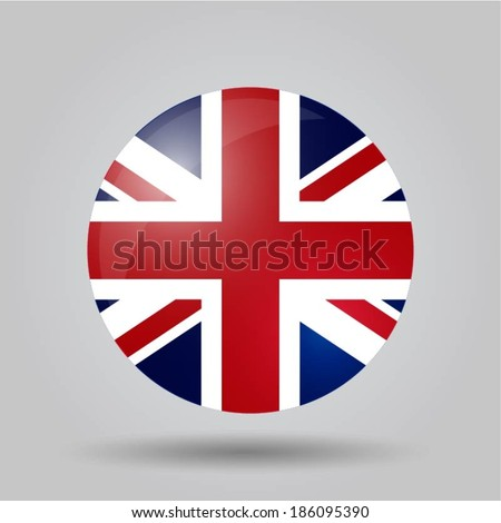 Circular flag with shadow and 3D effect, on grey background - United Kingdom - stock vector
