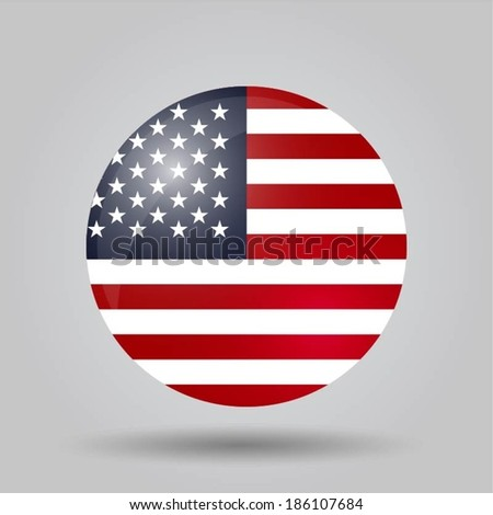 Circular flag with shadow and 3D effect, on grey background - USA - stock vector