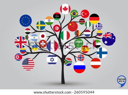 Circular flags of the World in tree design. Vector illustration. - stock vector