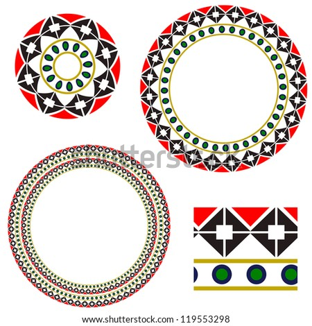 Circular frame with elements of national Ukrainian embroidery. eps10 - stock vector