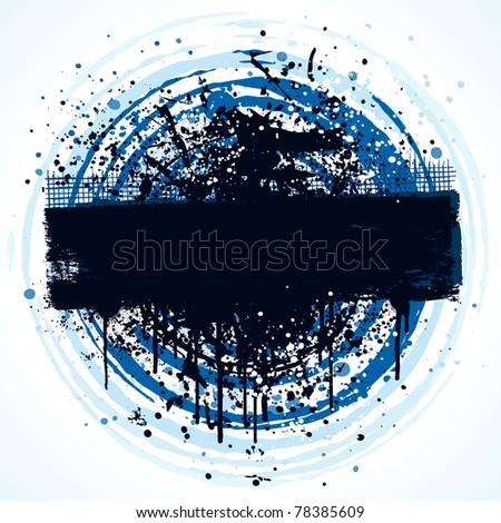 Circular grunge banner background design with paint splatter - stock vector