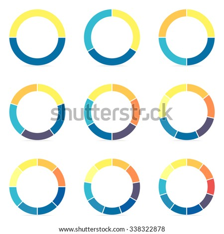 Circular infographics step by step. Flat thin pie charts, graphs with 2, 3, 4, 5, 6, 7, 8, 9, 10 steps, options, parts, processes. Vector business templates in blue and yellow for presentation. - stock vector
