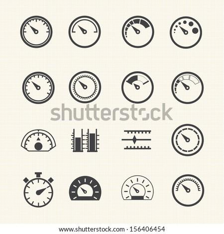 Circular Meter icons set - stock vector