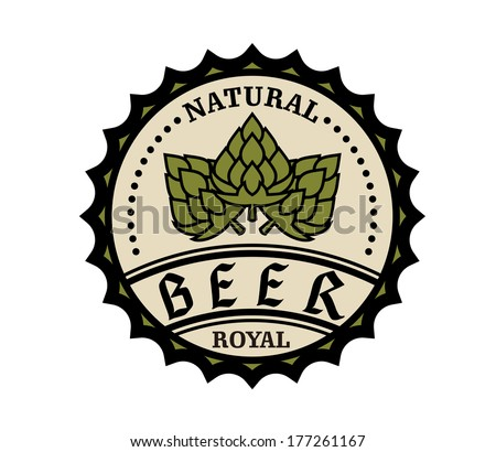Circular natural royal beer icon or bottle cap design with text and hops, vector illustration on white