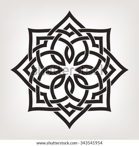 Circular pattern in arabesque style. Eight pointed star. Mandala. Lotus. - stock vector