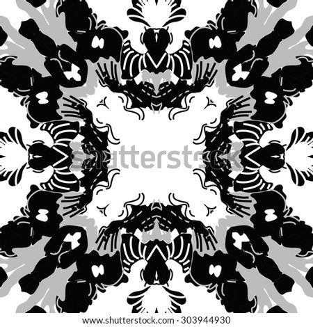 Circular   pattern of abstract floral motif,stripes, hole, spots, copy space. Hand drawn.