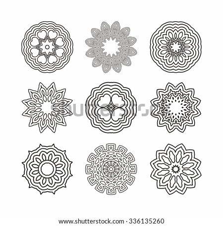 Circular pattern of traditional motifs and ancient oriental ornaments.Black hand drawn vector background.  - stock vector