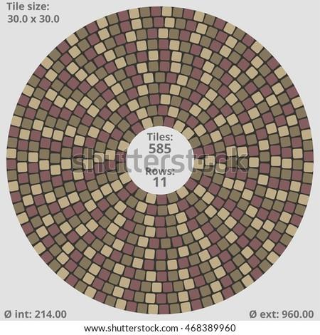 Dimensional Tile circular paving tile pattern quantitative dimensional stock vector