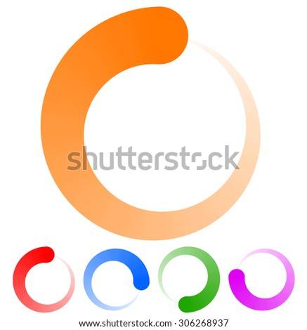 Circular preloader, buffer shapes. Colorful progress indicator icon set with four steps, phases. Rotating circle shapes. Vector.