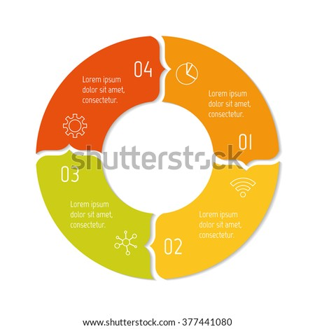 Circular progress steps for tutorial. 4 options paper infographic banner. Number banner template for diagram, presentation or chart. Business concept sequence banner. Curved arrow workflow layout. - stock vector