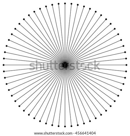 Circular radial lines with dots at line's ends