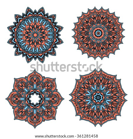 Circular retro floral patterns of pastel red and blue abstract flowers, with dainty cyan petals, tendrils and flourishes. Great use for vintage lace embellishment and tile design - stock vector