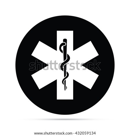 Circular Rod of Asclepius Snake & Staff Symbol Icon - stock vector