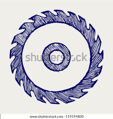 Circular saw blade. Doodle style - stock vector