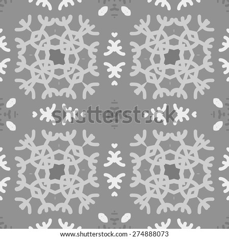 Circular  seamless pattern of colored motif, spots, snowflakes, stars. Hand drawn.