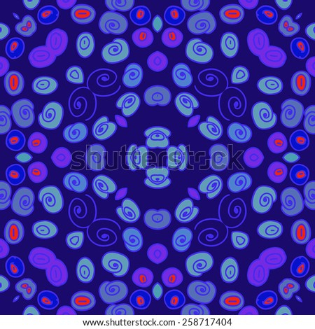 Circular seamless pattern of colored spirals, ellipses. Hand drawn.