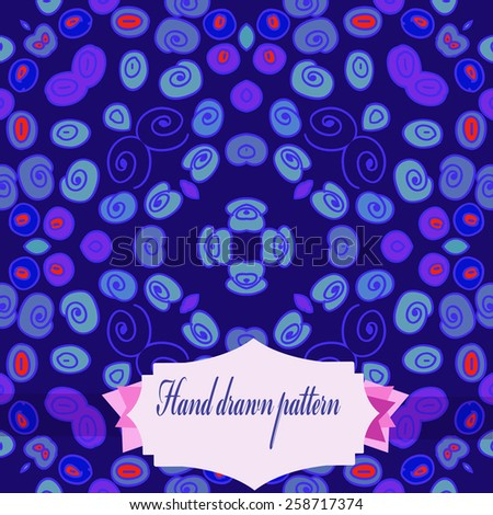Circular seamless pattern of colored spirals, ellipses, label. Hand drawn.