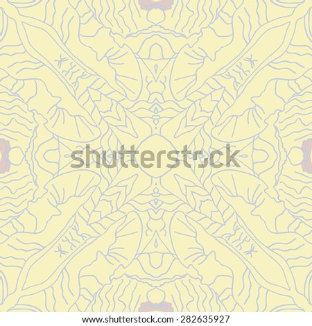 Circular  seamless pattern of  delicate motif, stripes, hole, spots. Hand drawn.