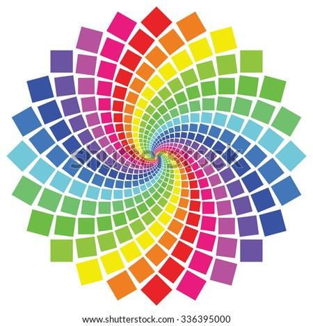 Circular spectrum pattern on white background. - stock vector