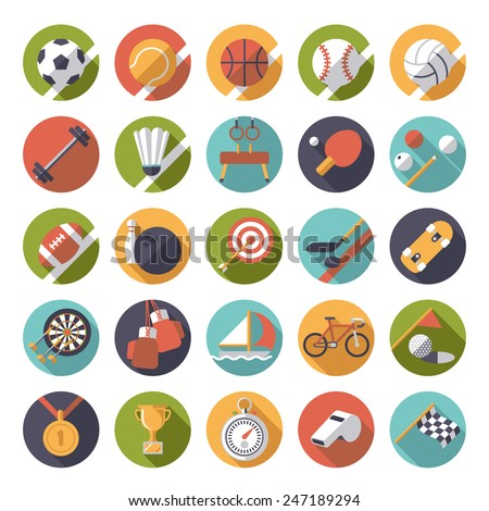 Circular sports icons flat design vector set. Collection of 25 flat design sports and gymnastics vector icons in circles. - stock vector