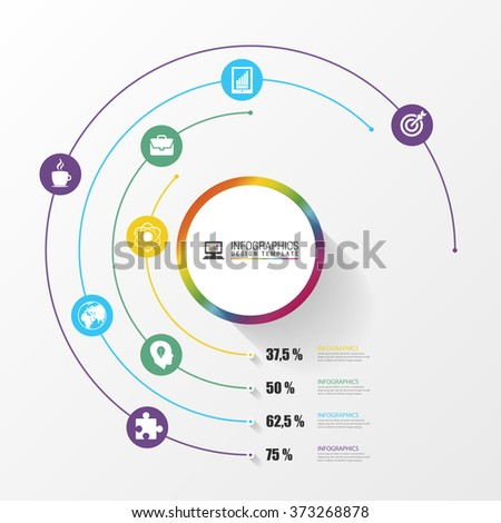 Circular stylish multicolor round percent line 4 step. Infographics. Vector illustration - stock vector
