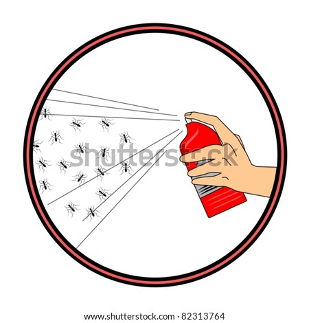 Circular symbol killing ants with insecticide - stock vector