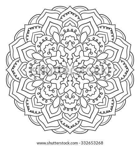 Circular symmetric pattern on white background. Illustration of mandala for painting. Coloring book page for adults. - stock vector