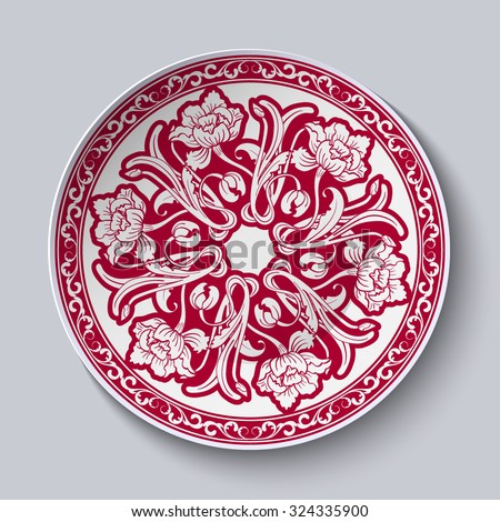 Circular unusual red floral pattern. Stylized Chinese porcelain painting. The ornament is shown on the ceramic plate. Vector illustration - stock vector