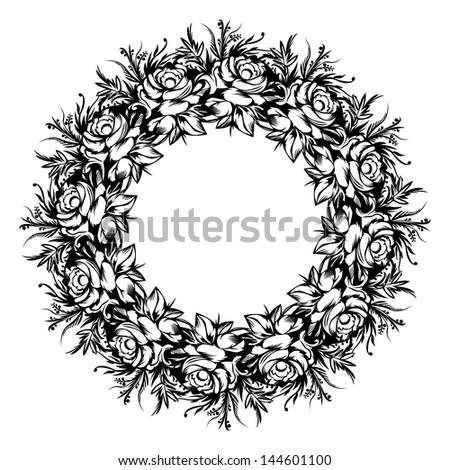 Circular vintage floral ornament. Retro style. - stock vector