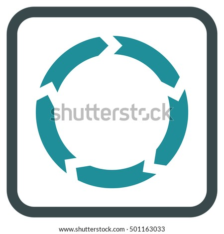 Circulation soft blue vector icon. Image style is a flat pictogram symbol in a rounded square frame on a white background.