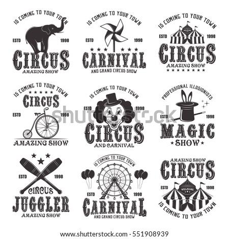 circus amazing show set vector black stock vector