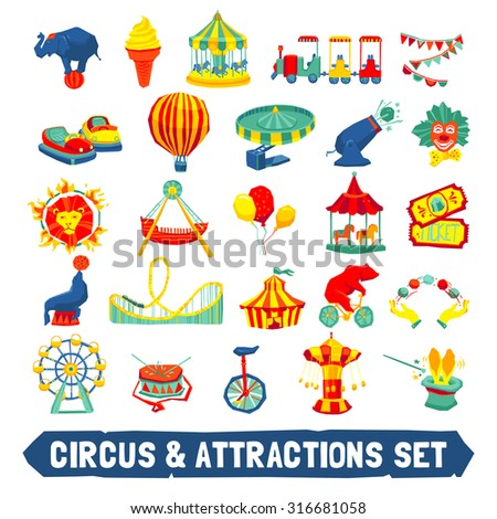 Circus and attraction icons set with animals clown rides symbols flat isolated vector illustration - stock vector