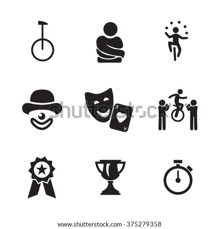 Circus and juggling icons (unicycle, bicycle, escapology, shirt, acrobatics,cabaret,  comedy, awards). Vector illustration - stock vector