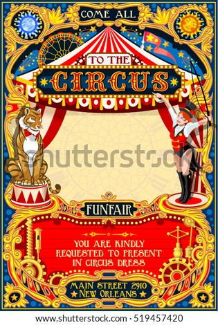 Circus animal trainer show Retro Template. Cartoon Poster Invite. Kids game Birthday Party Insight. Carnival festival Background Animal Lion Tiger Cabaret Vintage vector background. Animal Tamer theme