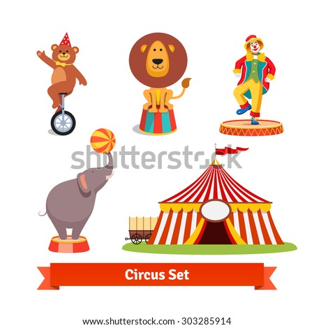 Circus animals, bear on monocycle in party hat, lion, elephant holding ball on a trunk,    clown and tent with wagon. Flat style vector illustration isolated on white background. - stock vector