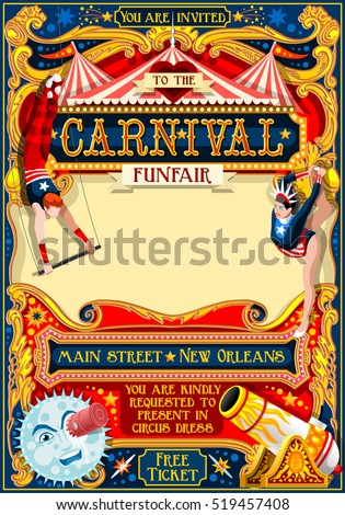 Circus artist park show Retro Template. Cartoon Poster Invite. Kids game Birthday Party Insight. Carnival festival Background Juggling Acrobatic Cabaret Vintage vector background. Acrobat Retro theme.