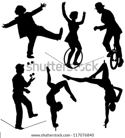 Circus Artist Silhouette on white background - stock vector