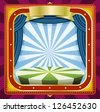 Circus Background/ Illustration of a square holidays circus frame background poster with banners, blue curtains and gold ornaments for arts events and entertainment background - stock photo