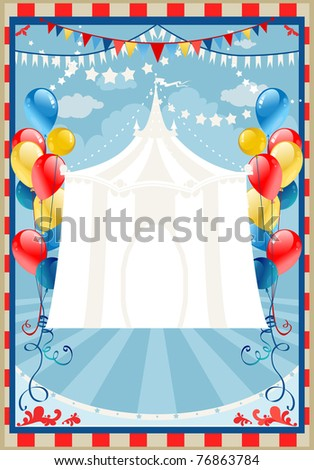 Circus background with space for text - stock vector