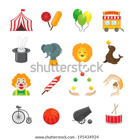 Circus caravan rabbit elephant tricks and magical hat hocus pocus performance funny color icons set isolated vector illustration - stock vector