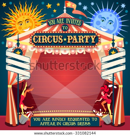 Circus Carnival Colorful Retro Template Circus Cartoon Poster Invitation. Birthday Party Insight. Carnival Background Cabaret Vintage Playbill Circus Show. Acrobat Clown Comic Acrobatics Vector Show - stock vector