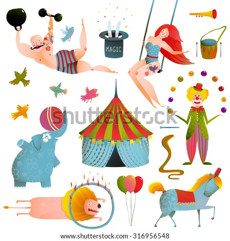 Circus Carnival Show Clip Art Vintage Collection. Fun and cute performance with animals, clown, strong man and horse set. Vector illustration. - stock vector