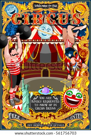 Circus carnival tent marquee amusement family theme park poster. Woman acrobat artist show invite set  sc 1 st  Shutterstock & Circus Carnival Tent Marquee Amusement Family Stock Vector ...