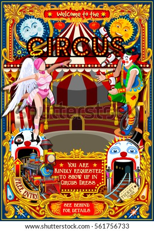 Circus carnival vector tent marquee. Amusement family theme park circus poster clown invite vector set. Creative circus roller coaster design vector illustration rollercoaster collection