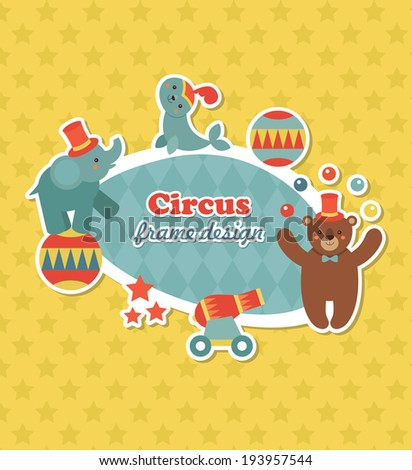 circus childish frame set design. vector illustration - stock vector
