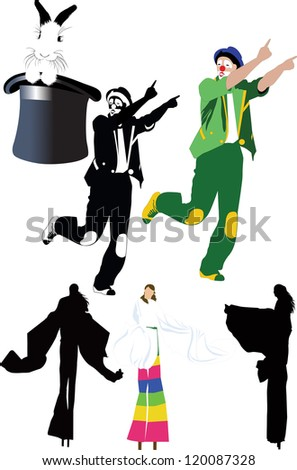 circus clown tricks people on stilts - stock vector
