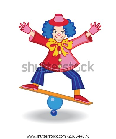 circus clown (vector illustration) - stock vector