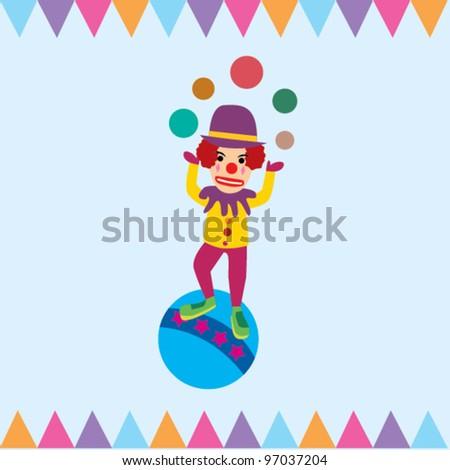 Circus Clowns - stock vector